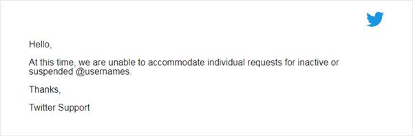 email penolakan klaim username twitter