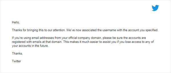 email pemberitahuan twitter bahwa username sudah diganti