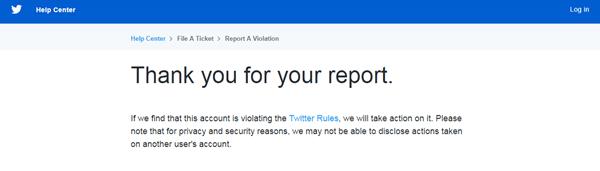 konfirmasi laporan impersonation twitter
