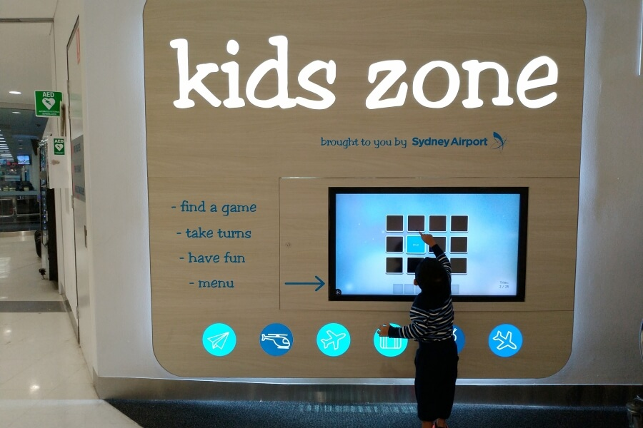 interactive kids zone di Sydney Airport