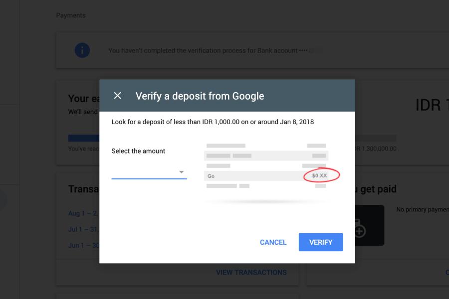verifikasi deposit google adsense