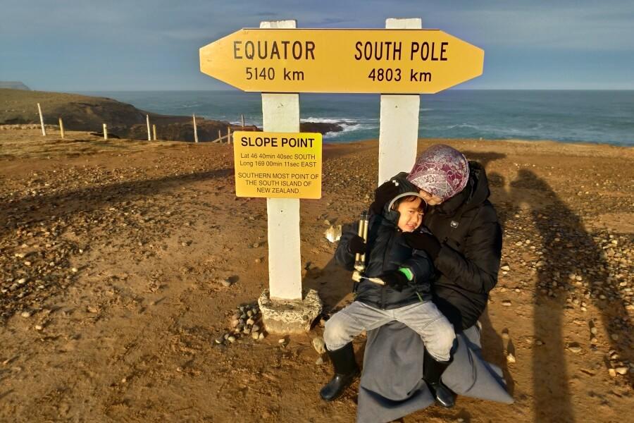 Penanda titik paling selatan South Island